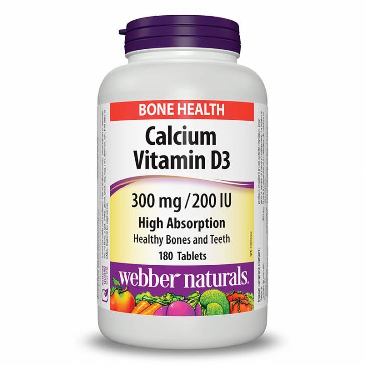 Webber Naturals Calcium Citrate with Vitamin D3 300mg/200 IU (180 Tablets)