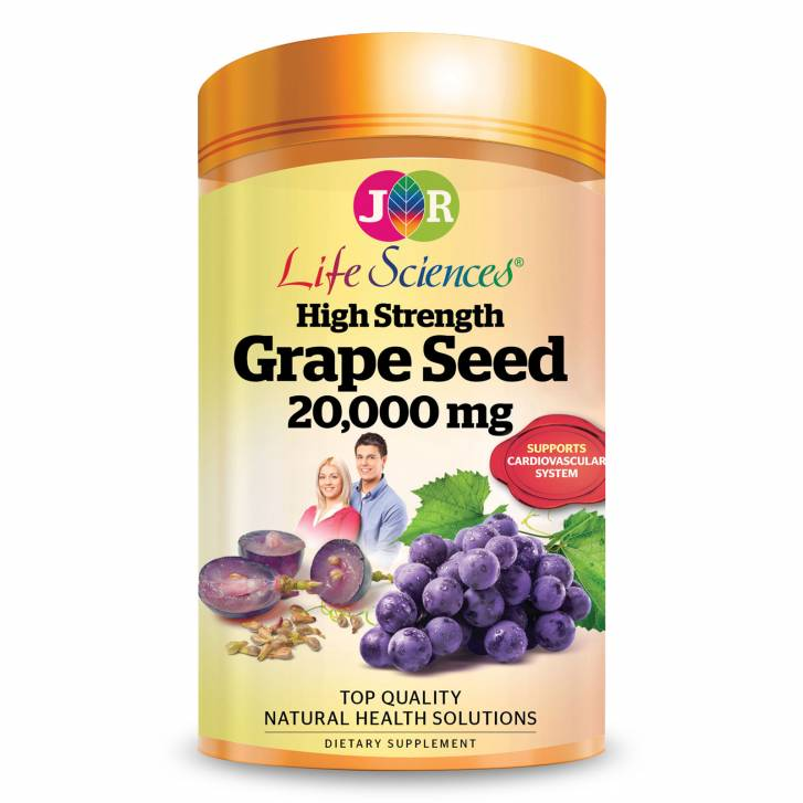 JR Life Sciences High Strength Grape Seed 20,000mg (from Fresh Grape Seed) (180 Softgels)