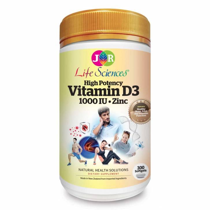 JR Life Sciences High Potency Vitamin D3 1000IU with Zinc (300 Softgels)