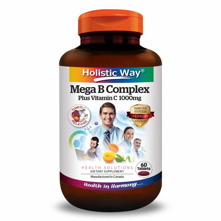Holistic Way Mega B Complex Plus Vitamin C 1000mg (60 Tablets)